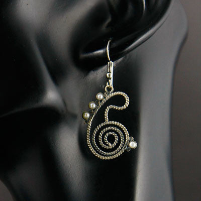 Dainty stylized twisted wire paisley earrings with pearls (PB-1438-ER)