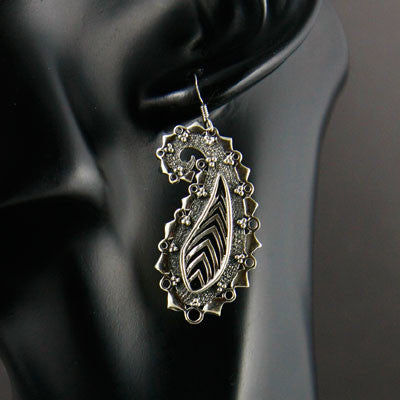 Exquisite stylized paisley long earrings (PB-1442-ER)  Earrings Lai designer sterling silver 925 jewelry that is global culture inspired artisanal handcrafted handmade contemporary sustainable conscious fair trade online brand shop