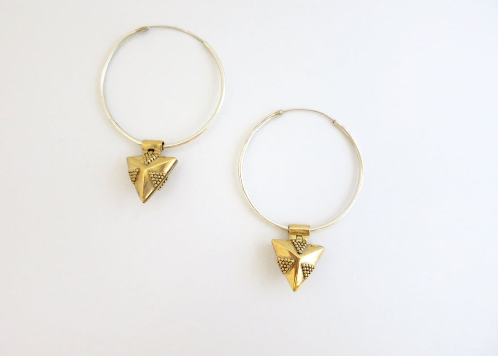 Elegant, detachable, gold plated brass triangular granulation work lockets on sterling silver hoops (PB-MM1049-ER)