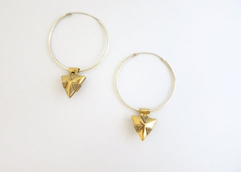 Elegant, detachable, gold-plated brass lockets on sterling silver hoops