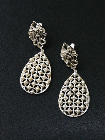 Glamorous pearl jali drop earrings (PB-9147-ER)  Earrings Sterling silver handcrafted jewellery. 925 pure silver jewellery. Earrings, nose pins, rings, necklaces, cufflinks, pendants, jhumkas, gold plated, bidri, gemstone jewellery. Handmade in India, fair trade, artisan jewellery.