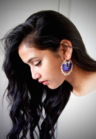 Glamorous, blue ombre' arabesque-inspired hoops  Earrings Sterling silver handcrafted jewellery. 925 pure silver jewellery. Earrings, nose pins, rings, necklaces, cufflinks, pendants, jhumkas, gold plated, bidri, gemstone jewellery. Handmade in India, fair trade, artisan jewellery.