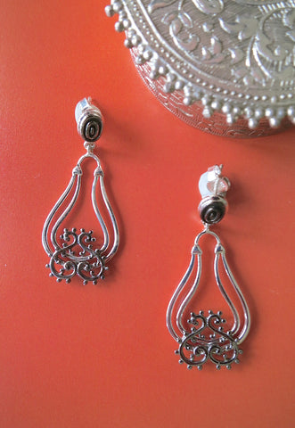 Beautiful dangle drop earrings with mehndi inspired black rhodium plated detailing (PBS-4739-ER)  Earrings Sterling silver handcrafted jewellery. 925 pure silver jewellery. Earrings, nose pins, rings, necklaces, cufflinks, pendants, jhumkas, gold plated, bidri, gemstone jewellery. Handmade in India, fair trade, artisan jewellery.
