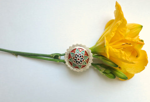 Gorgeous red & green Nathdwara enamel statement ring (PB-7983-ER)