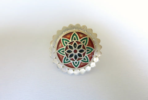 Gorgeous red & green Nathdwara enamel statement ring (PB-7983-ER)  Ring Sterling silver handcrafted jewellery. 925 pure silver jewellery. Earrings, nose pins, rings, necklaces, cufflinks, pendants, jhumkas, gold plated, bidri, gemstone jewellery. Handmade in India, fair trade, artisan jewellery.