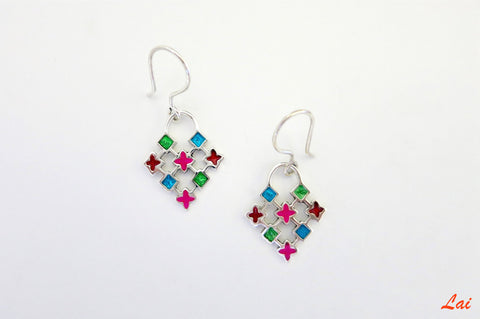 Dainty fun colourful grid pattern enamel earrings (PB-4192-ER)  Earrings Sterling silver handcrafted jewellery. 925 pure silver jewellery. Earrings, nose pins, rings, necklaces, cufflinks, pendants, jhumkas, gold plated, bidri, gemstone jewellery. Handmade in India, fair trade, artisan jewellery.