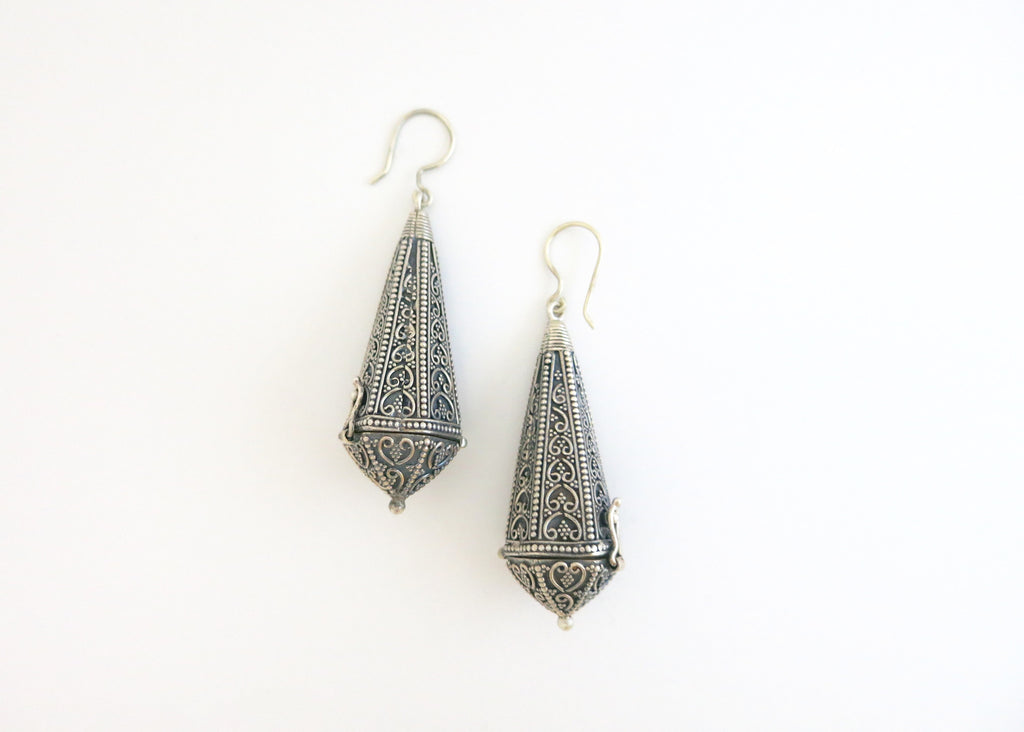Statement, neo-ethnic, sterling silver long amuletic earrings with fine wire and granulation work (PB-1692-ER)
