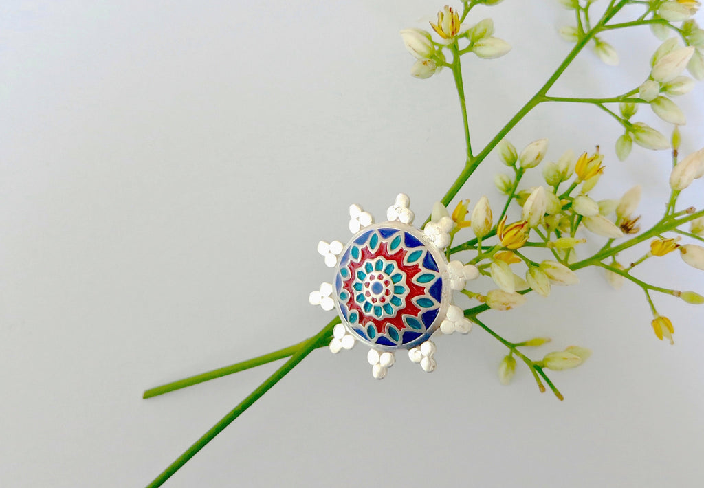 Beautiful blue & red Nathdwara enamel ring (PB-7984-ER)  Ring Lai designer sterling silver 925 jewelry that is global culture inspired artisanal handcrafted handmade contemporary sustainable conscious fair trade online brand shop