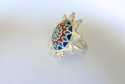 Beautiful blue & red Nathdwara enamel ring (PB-7984-ER)  Ring Sterling silver handcrafted jewellery. 925 pure silver jewellery. Earrings, nose pins, rings, necklaces, cufflinks, pendants, jhumkas, gold plated, bidri, gemstone jewellery. Handmade in India, fair trade, artisan jewellery.