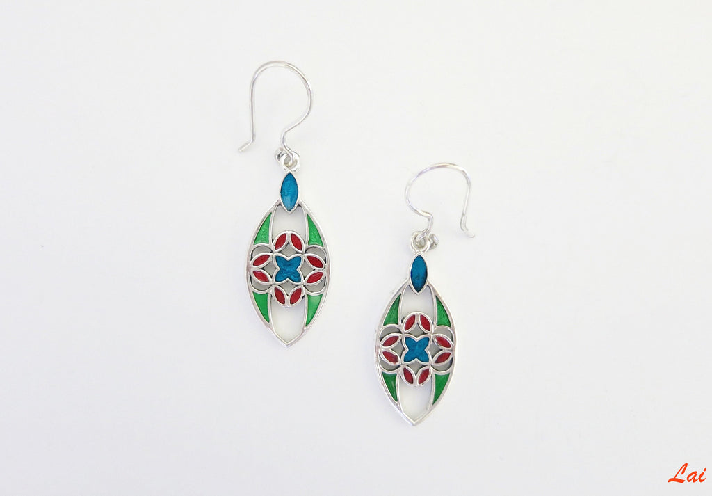 Elegant navette shape multi colour enamel earrings (PB-4191-ER)  Earrings Lai Puja Bhargava Kamath Indian designer sterling silver 925 jewellery cultures history travel artisanal handcrafted handmade contemporary