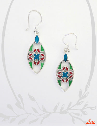 Elegant navette shape multi colour enamel earrings (PB-4191-ER)  Earrings Sterling silver handcrafted jewellery. 925 pure silver jewellery. Earrings, nose pins, rings, necklaces, cufflinks, pendants, jhumkas, gold plated, bidri, gemstone jewellery. Handmade in India, fair trade, artisan jewellery.