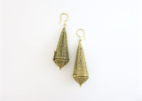 Magnificent, long, gold-plated brass amuletic earrings