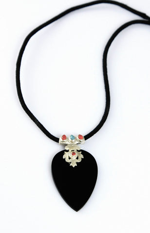 Stunning black glass statement pendant with silver, turquoise & carnelian detailing (PBS-4007)  Necklace, Pendant Sterling silver handcrafted jewellery. 925 pure silver jewellery. Earrings, nose pins, rings, necklaces, cufflinks, pendants, jhumkas, gold plated, bidri, gemstone jewellery. Handmade in India, fair trade, artisan jewellery.