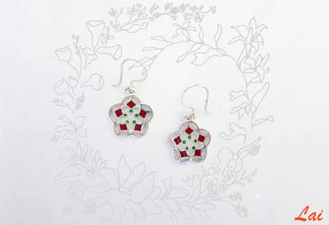 Delicate small flower enamel earrings (PB-4166-ER)