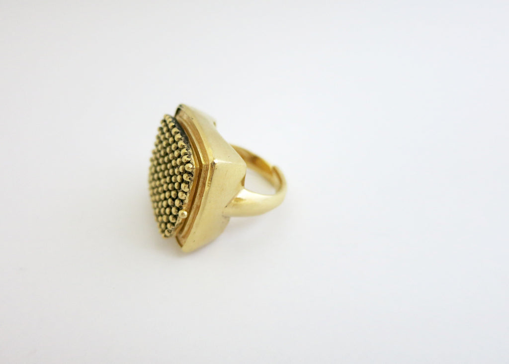 Stunning beaded texture square gold plated brass locket ring (PB-BR1187-R)