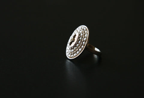 Classic chic pearl encrusted oval ring (PB-9056-R)  Ring Sterling silver handcrafted jewellery. 925 pure silver jewellery. Earrings, nose pins, rings, necklaces, cufflinks, pendants, jhumkas, gold plated, bidri, gemstone jewellery. Handmade in India, fair trade, artisan jewellery.