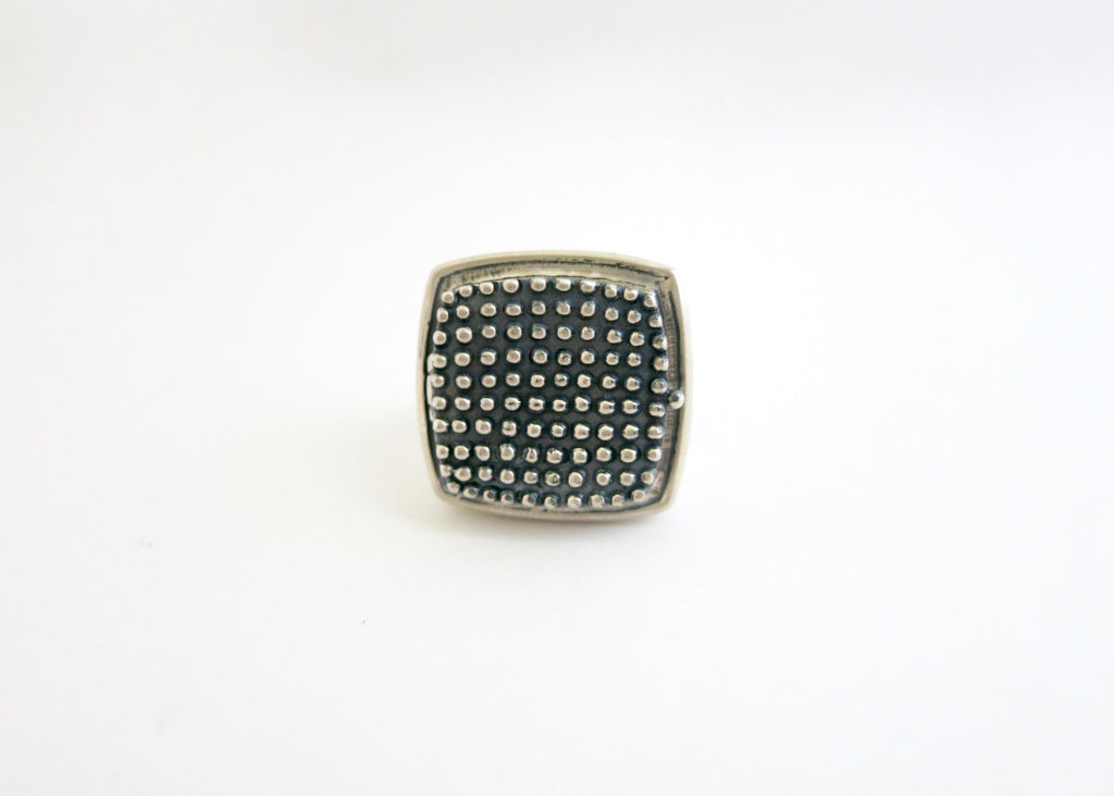 Gorgeous, beaded texture square sterling silver locket ring (PB-1242-R)  Ring Lai Puja Bhargava Kamath Indian designer sterling silver 925 jewellery cultures history travel artisanal handcrafted handmade contemporary