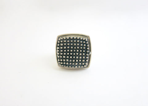 Gorgeous, beaded texture square sterling silver locket ring (PB-1242-R)