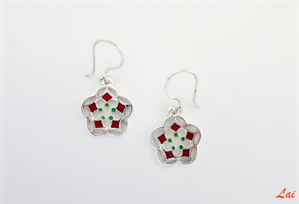 Delicate small flower enamel earrings (PB-4166-ER)  Earrings Sterling silver handcrafted jewellery. 925 pure silver jewellery. Earrings, nose pins, rings, necklaces, cufflinks, pendants, jhumkas, gold plated, bidri, gemstone jewellery. Handmade in India, fair trade, artisan jewellery.