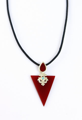 Chic, triangular, maroon color glass pendant with silver cut-work and turquoise detailing