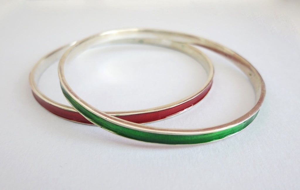 Elegant single colour enamel work bangle (PB-1185(3)-B)  Bangles Lai designer sterling silver 925 jewelry that is global culture inspired artisanal handcrafted handmade contemporary sustainable conscious fair trade online brand shop