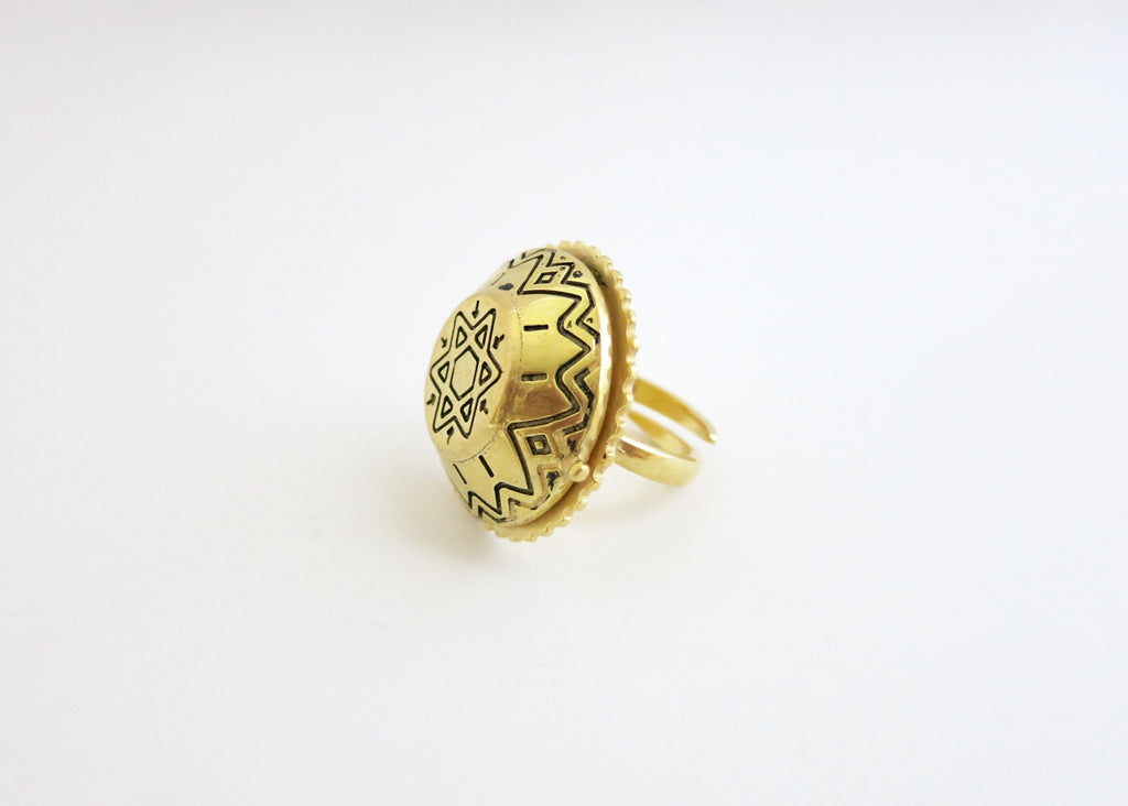 Ethno-tribal flat top dome gold plated brass amulet ring (PB-BR1188-R)