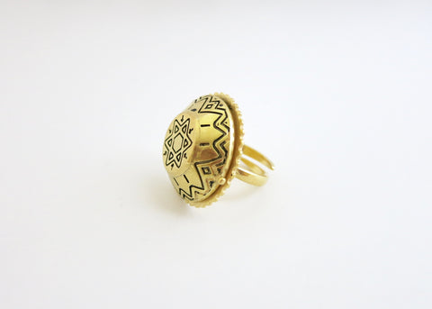 Ethno-tribal flat top dome gold plated brass amulet ring (PB-BR1188-R)  Ring Sterling silver handcrafted jewellery. 925 pure silver jewellery. Earrings, nose pins, rings, necklaces, cufflinks, pendants, jhumkas, gold plated, bidri, gemstone jewellery. Handmade in India, fair trade, artisan jewellery.