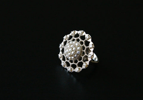 Dramatic pearl encrusted filigree round ring (PB-9057-R)  Ring Sterling silver handcrafted jewellery. 925 pure silver jewellery. Earrings, nose pins, rings, necklaces, cufflinks, pendants, jhumkas, gold plated, bidri, gemstone jewellery. Handmade in India, fair trade, artisan jewellery.