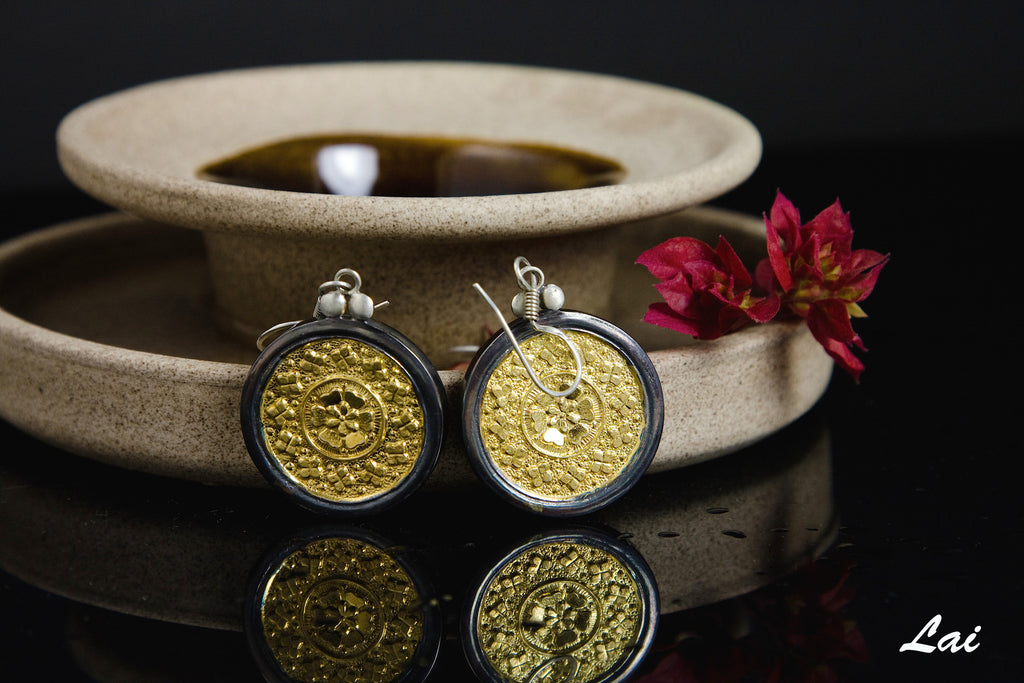 Elegant Thappa (stamped) round gold plated earrings with silver frame (PBS-1937-ER)  Earrings Sterling silver handcrafted jewellery. 925 pure silver jewellery. Earrings, nose pins, rings, necklaces, cufflinks, pendants, jhumkas, gold plated, bidri, gemstone jewellery. Handmade in India, fair trade, artisan jewellery.