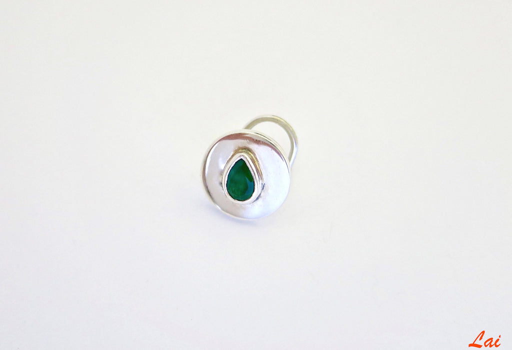 Minimalist round green stone nose pin (PB-006-NP)  Nose pin Sterling silver handcrafted jewellery. 925 pure silver jewellery. Earrings, nose pins, rings, necklaces, cufflinks, pendants, jhumkas, gold plated, bidri, gemstone jewellery. Handmade in India, fair trade, artisan jewellery.
