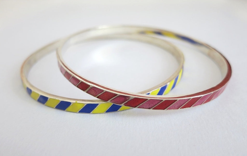 Beautiful diagonal line pattern enamel work bangle (PB-1185(2)-B) - Lai - 3
