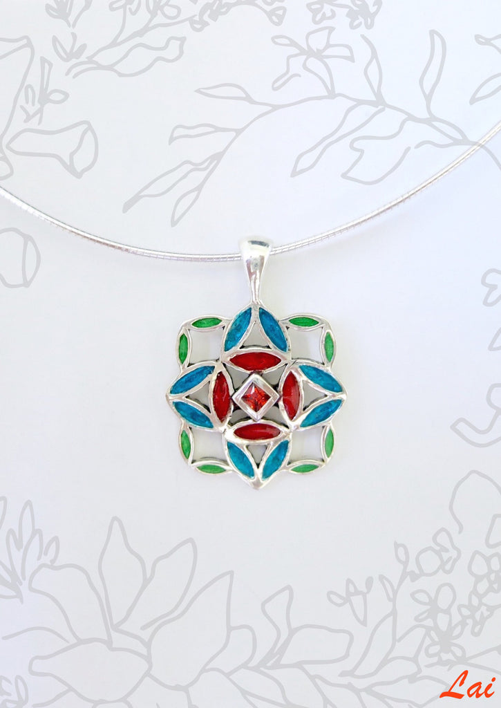 Beautiful unique small square enamel pendant (PB-4042-P)  Necklace, Pendant Sterling silver handcrafted jewellery. 925 pure silver jewellery. Earrings, nose pins, rings, necklaces, cufflinks, pendants, jhumkas, gold plated, bidri, gemstone jewellery. Handmade in India, fair trade, artisan jewellery.