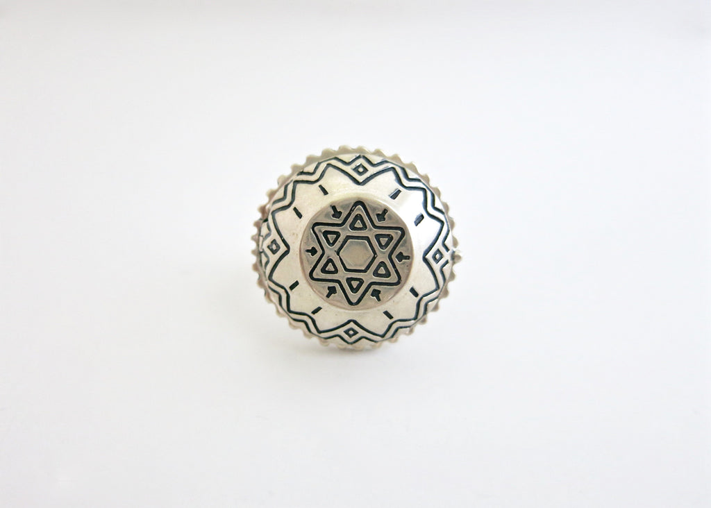 Tribal chic flat top dome sterling silver amulet ring (PB-1243-R)
