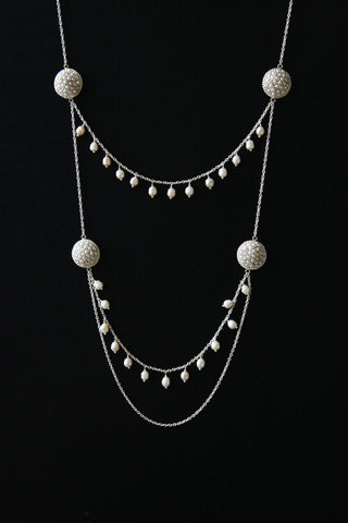 Stunning, unique, two-tier pearl necklace  Necklace, Pendant Sterling silver handcrafted jewellery. 925 pure silver jewellery. Earrings, nose pins, rings, necklaces, cufflinks, pendants, jhumkas, gold plated, bidri, gemstone jewellery. Handmade in India, fair trade, artisan jewellery.