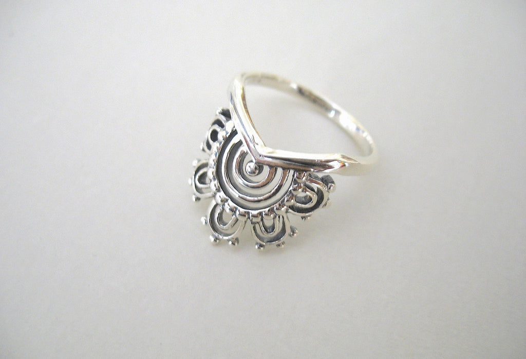 Elegant unique mehndi inspired ring (PBS-4848-R) - Lai - 1
