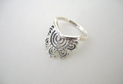 Elegant unique mehndi inspired ring (PBS-4848-R)