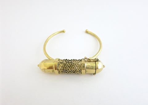 Gorgeous, tribal chic, hexagon tubular gold plated brass amuletic bracelet (PB-BR1172-B)