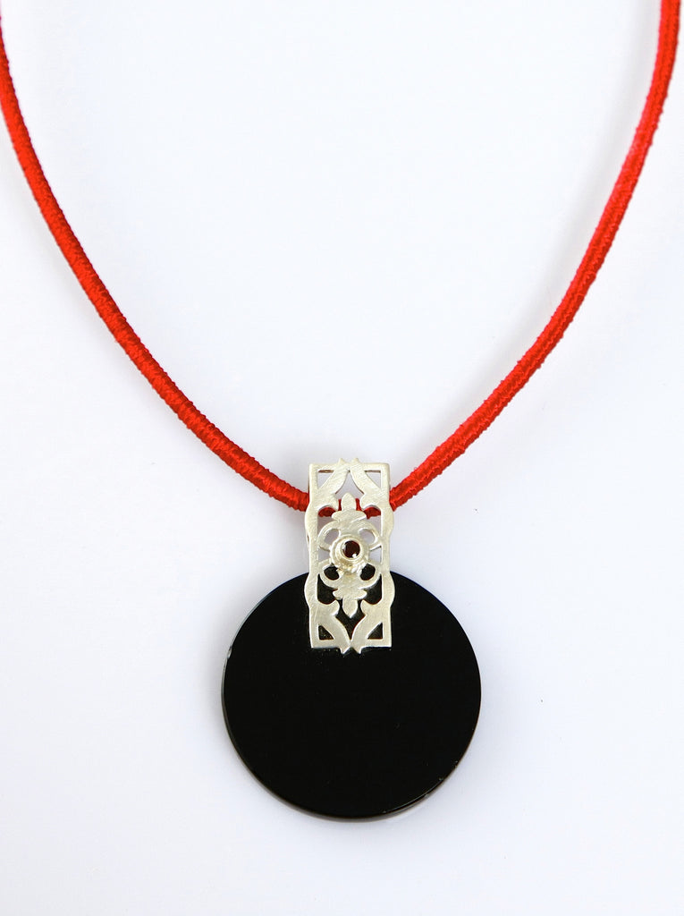 Beautiful round black colour glass pendant with silver & garnet accent (PBS-4010)  Necklace, Pendant Sterling silver handcrafted jewellery. 925 pure silver jewellery. Earrings, nose pins, rings, necklaces, cufflinks, pendants, jhumkas, gold plated, bidri, gemstone jewellery. Handmade in India, fair trade, artisan jewellery.