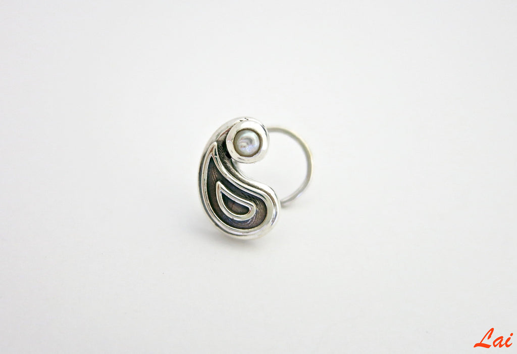 Ethereal paisley nose pin (PB-005-NP)  Nose pin Lai designer sterling silver 925 jewelry that is global culture inspired artisanal handcrafted handmade contemporary sustainable conscious fair trade online brand shop