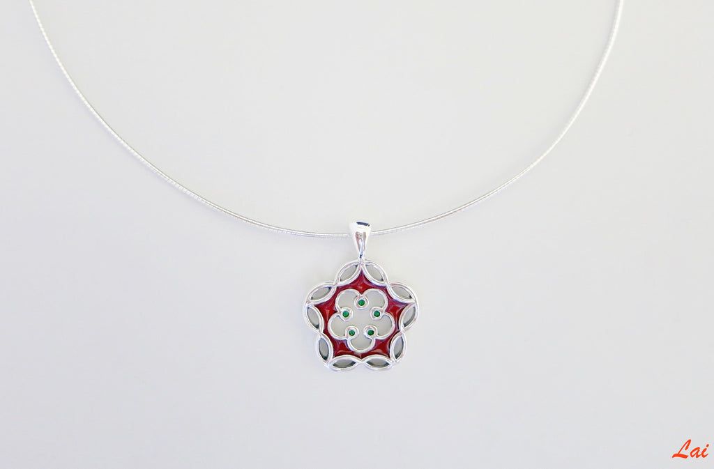 Dainty floral charm enamel pendant (PB-4041-P)  Necklace, Pendant Lai designer sterling silver 925 jewelry that is global culture inspired artisanal handcrafted handmade contemporary sustainable conscious fair trade online brand shop