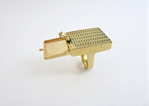 Exquisite, chic rectangular gold plated brass drawer ring (PB-BR1189-R)  Ring Sterling silver handcrafted jewellery. 925 pure silver jewellery. Earrings, nose pins, rings, necklaces, cufflinks, pendants, jhumkas, gold plated, bidri, gemstone jewellery. Handmade in India, fair trade, artisan jewellery.