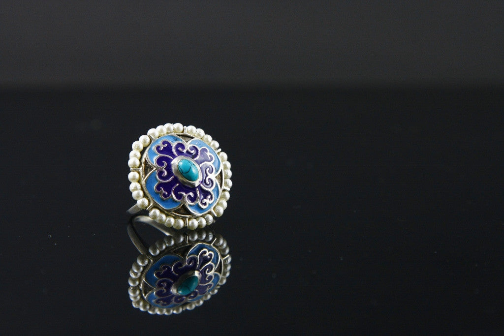 Stunning Mughal inspired round enamel ring with turquoise & pearls (PB-1527-R) -  - 1