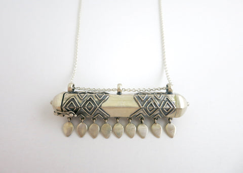 Statement, tribal-chic, hexagon tubular sterling silver long amuletic necklace (PB-1984-N)