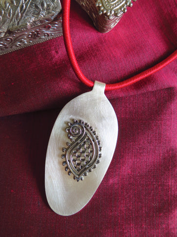 Stunning chic long pendant with black rhodium plated mehndi inspired paisley motif in center (PBS-4532-P)
