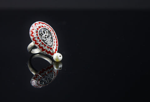 Exquisite drop shape chevron enamel ring with a dangling pearl (PB-1526-R)  Ring Sterling silver handcrafted jewellery. 925 pure silver jewellery. Earrings, nose pins, rings, necklaces, cufflinks, pendants, jhumkas, gold plated, bidri, gemstone jewellery. Handmade in India, fair trade, artisan jewellery.
