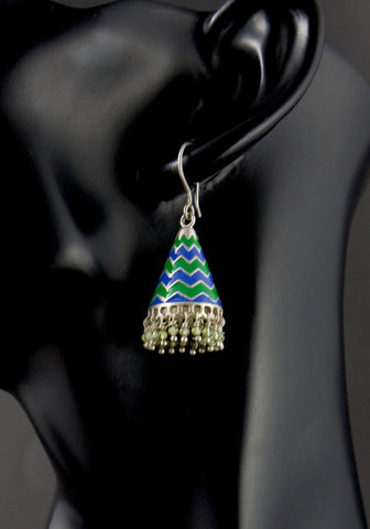 Fabulous chic chevron conical enamel jhumkas (PB-1518-ER)  Earrings Sterling silver handcrafted jewellery. 925 pure silver jewellery. Earrings, nose pins, rings, necklaces, cufflinks, pendants, jhumkas, gold plated, bidri, gemstone jewellery. Handmade in India, fair trade, artisan jewellery.