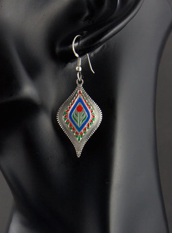Classic Mughal inspired stylized navette enamel earrings (PB-1508-ER)  Earrings Sterling silver handcrafted jewellery. 925 pure silver jewellery. Earrings, nose pins, rings, necklaces, cufflinks, pendants, jhumkas, gold plated, bidri, gemstone jewellery. Handmade in India, fair trade, artisan jewellery.
