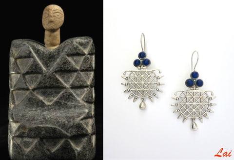 Exquisite grid pattern lapis earrings (PB-9830-ER)