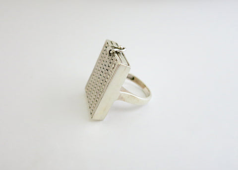 Unique, chic rectangular sterling silver drawer ring (PB-1753-R)