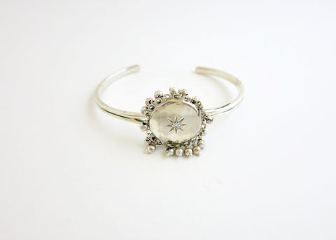 Ethereal, vintage inspired, sterling silver round locket bracelet